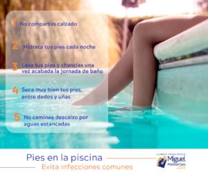 Es tiempo de piscina y desde nuestra Clínica Miguel Martinez Cano ubicada en Torrevieja lo sabemos, queremos dejaros unas breves recomendaciones para evitar infecciones comunes.